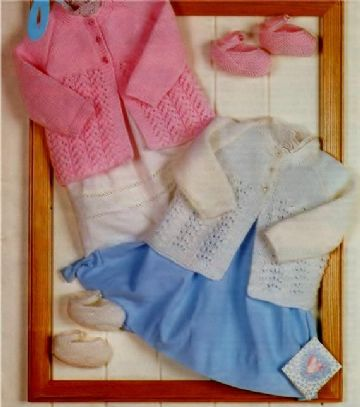 Digital Download PDF Vintage Knitting Pattern Baby's Babies Matinee Coat (2 designs) & Slipper Shoes